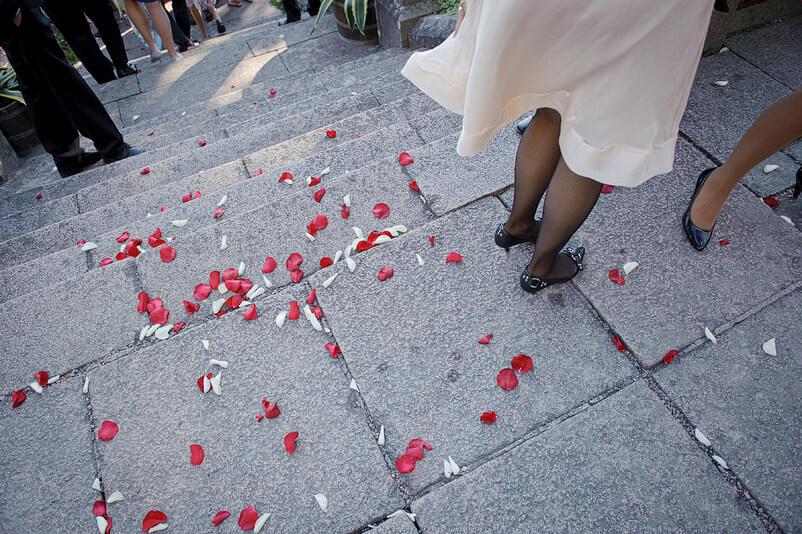Detalj med rosblad på marken och några gästers ben.